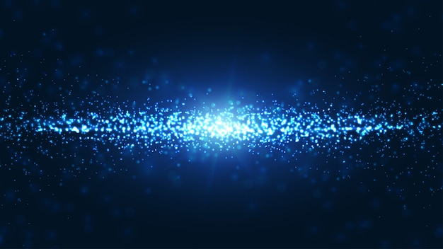 Blue wavy and shining abstract particles background.