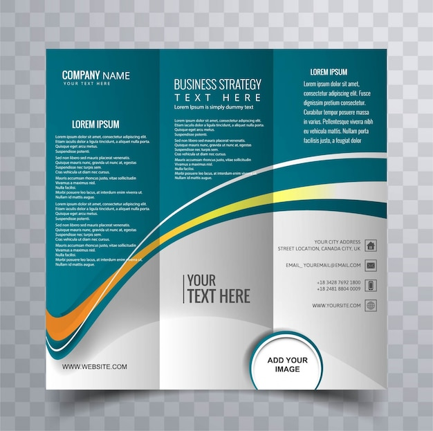 Blue wavy trifold brochure