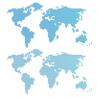 Blue wavy world map