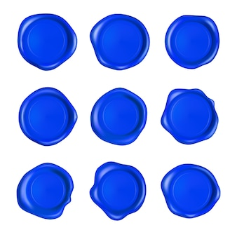 Blue wax seal set.  realistic guaranteed blue stamps.