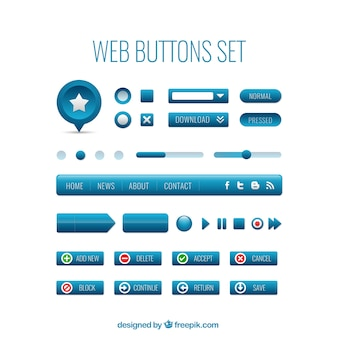 Blue web buttons set