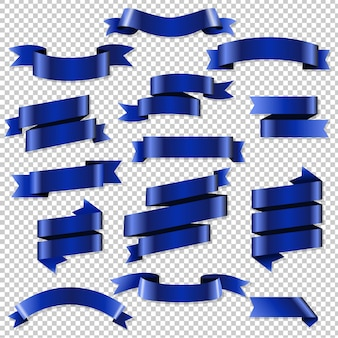 Blue web ribbons set