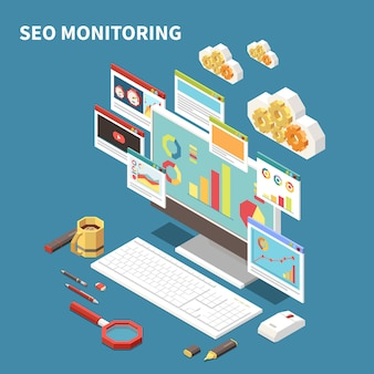 Blue web seo isometric composition with seo monitoring headline and isolated elements windows clouds  illustration