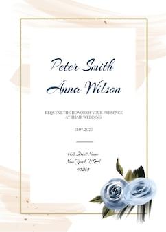 青い結婚式カードテンプレート