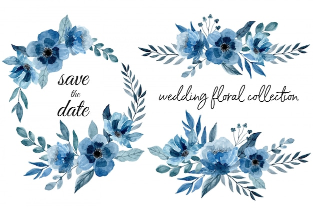 Blue wedding floral collection with watercolor