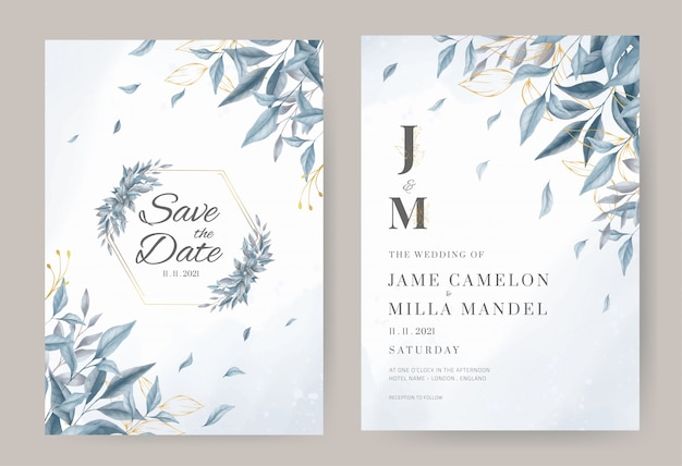 Blue wedding invitation card template and gold leave with watercolor background.