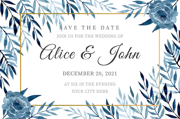 Blue wedding invitation card template with watercolor leaves