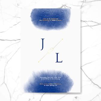 Blue wedding invitation card vector