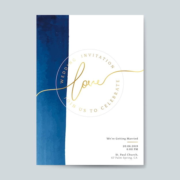 Blue wedding invitation card vector