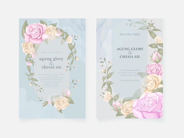 Blue wedding invitation card with roses and leaves