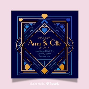 Blue wedding invitation template in art deco style