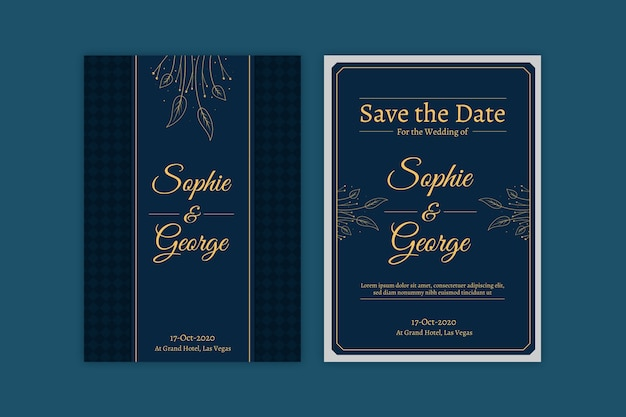 Blue wedding invitation template with golden elements