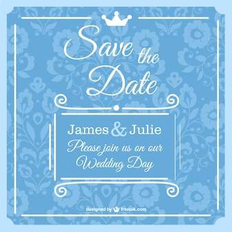 Blue wedding invitation with flowers and a little crown