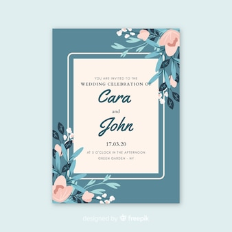 Blue wedding invitation with flowers
