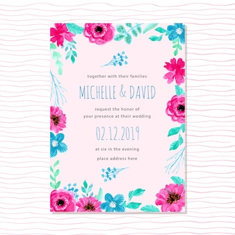 Blue wedding invitation with watercolor floral