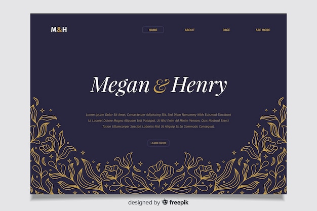 Blue wedding landing page