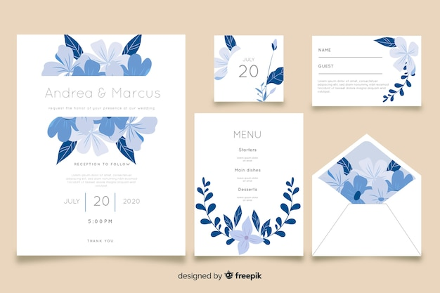 Blue wedding stationery template in flat desig