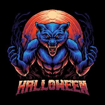 푸른 늑대 인간 짐승 그림
