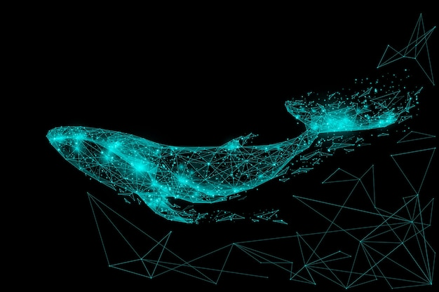 Blue whale composed of polygon. marine animal digital concept. low poly vector illustration of a starry sky or comos.