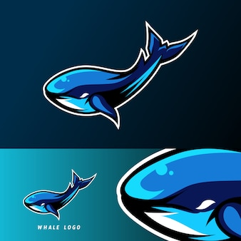Blue whale fish mascot sport esport logo template