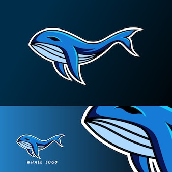 Blue whale fish mascot sport gaming esport logo template for squad team