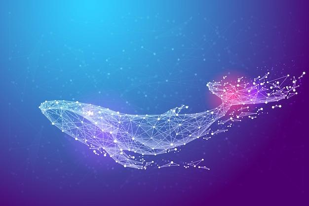 점, 선 및 모양 형태의 푸른 고래
