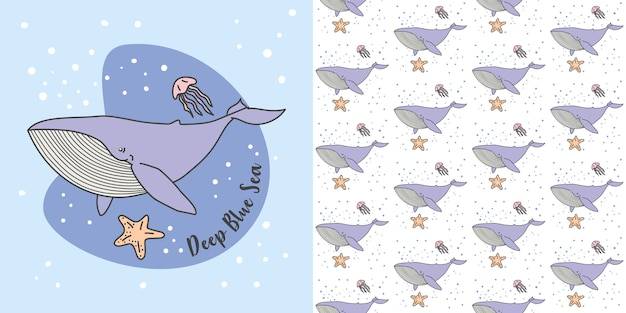 Blue whale, jelly fish in blue sea seamless pattern