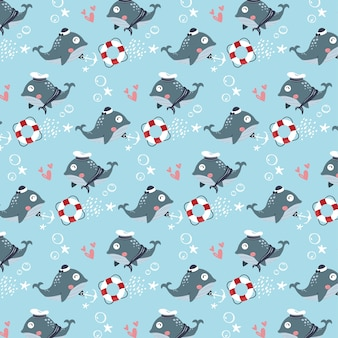푸른 고래 마린 커플 벡터 원활한 패턴