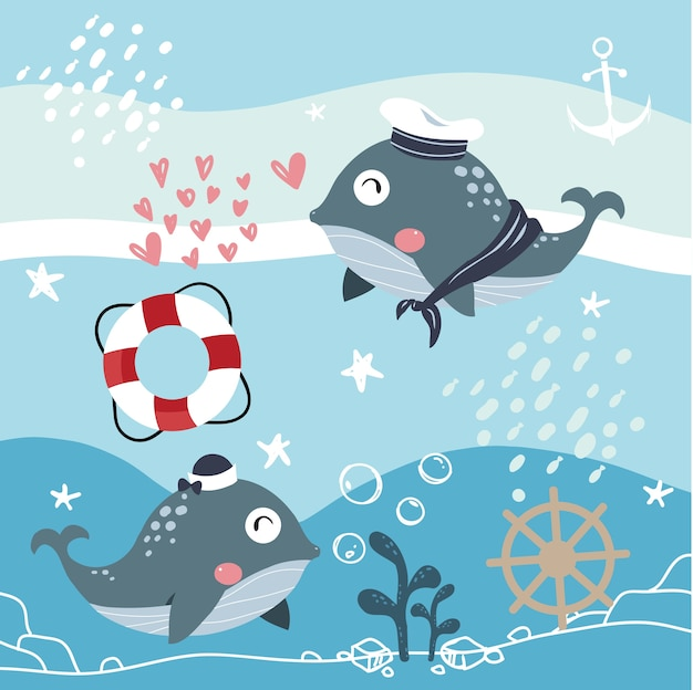 Blue whale marine couple vector