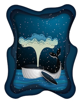 Blue whale and moon on beautiful seascape in night time, paper art and craft style.