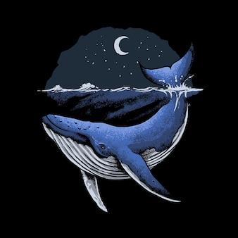 シロナガスクジラの海のイラスト