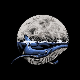 Blue whale ocean with moon background illustration