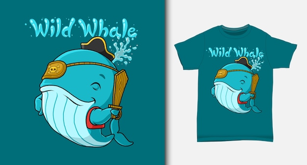 Blue whale pirate cartoon. with t-shirt design.