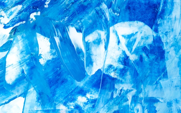 Blue and white abstract acrylic brush stroke textured background