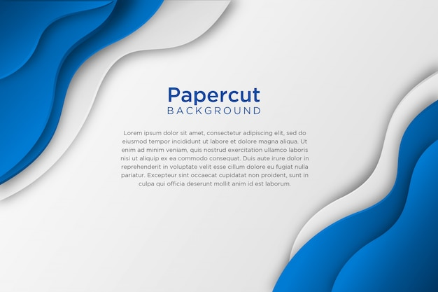 Blue white abstract wavy paper cut background