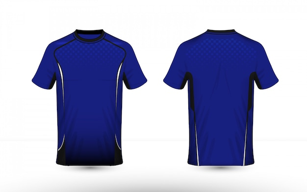 파란색 흰색과 검은 색 레이아웃 전자 스포츠 티셔츠 디자인 서식 파일