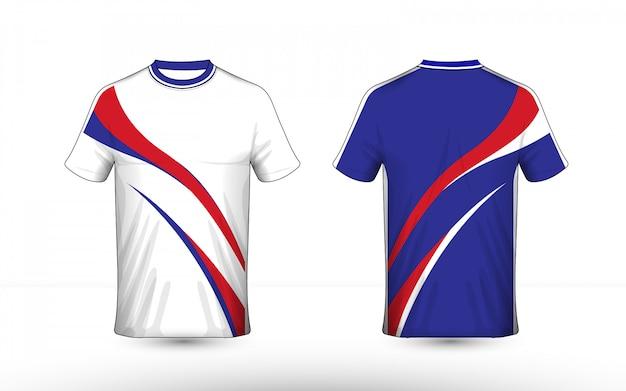 파란색 흰색과 빨간색 레이아웃 전자 스포츠 티셔츠 디자인