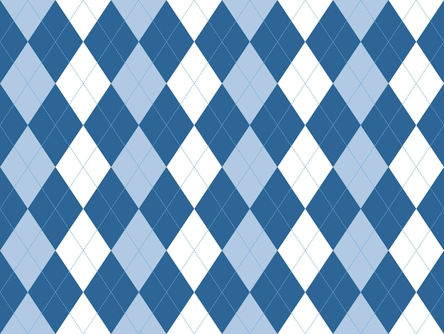 Blue white argyle seamless pattern