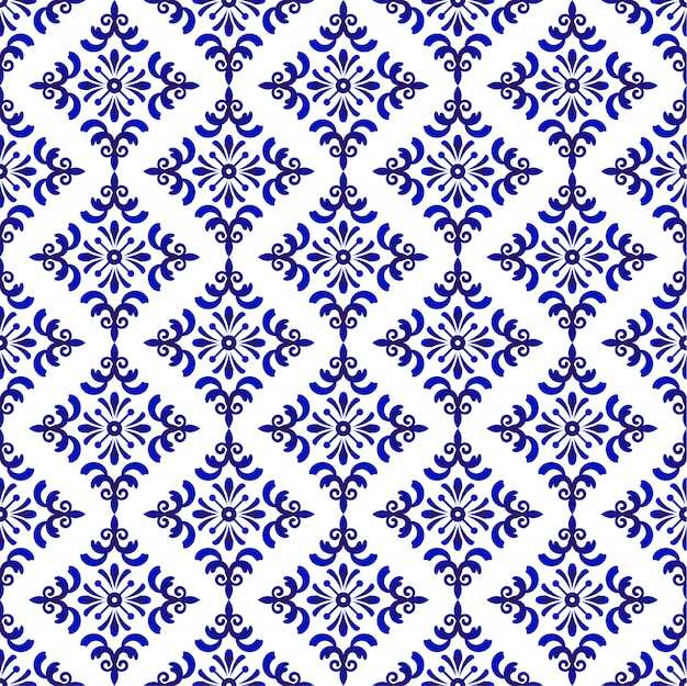 Blue and white baroque and damask pattern, seamless floral decorative background