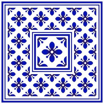 Blue and white border