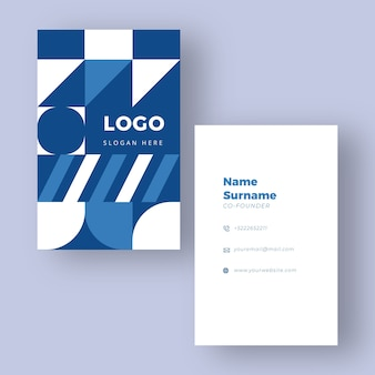 Blue and white business card template