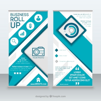 Blue and white business roll up