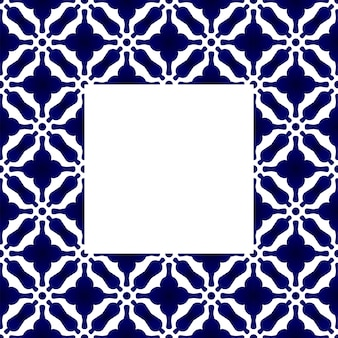 Blue and white ceramic square frame pattern