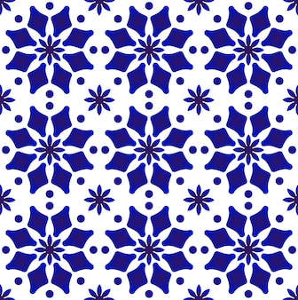 Blue and white ceramic tile pattern indigo arabesque style