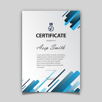 Blue and white certificate template