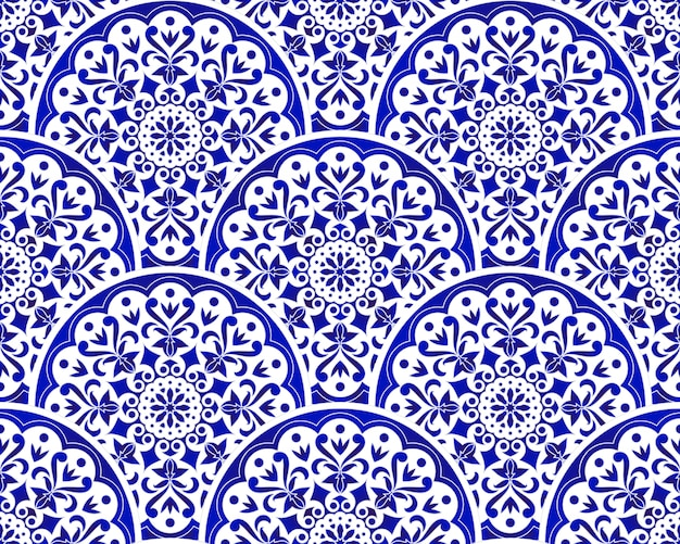 Blue and white chinese pattern with scale patchwork style, abstract floral decorative indigo mandala