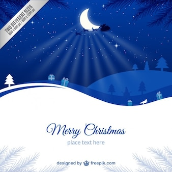 Blue and white christmas card template