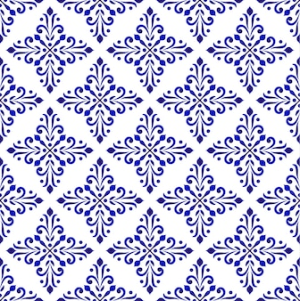 Blue and white classic wallpaper, decorative floral background, damask seamless pattern