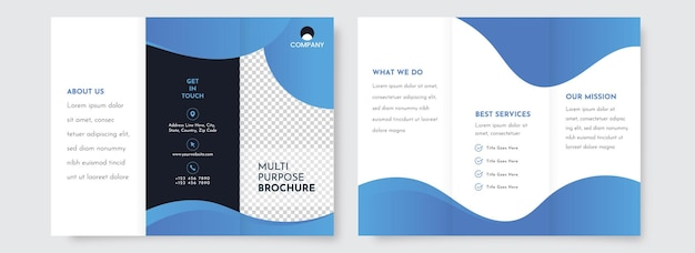 Blue and white color tri-fold brochure template design with double-side.
