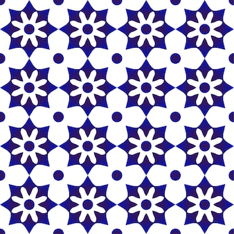 Blue and white cute tile pattern